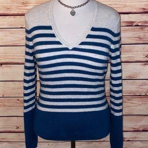 Lord & Taylor Ecru & Indigo Blue Cashmere Sweater